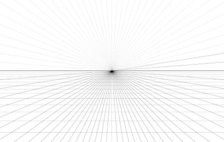 Room perspective grid background 3d Vector illustration. architecture model projection background template. Line one point perspective horizon perspective sheme Ilustração Vetorial