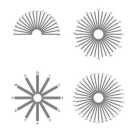 Eye astigmatism test grid. Oculist Vector printable chart retina examination. lines degrees. Vision control. medical test Vector Illustration
