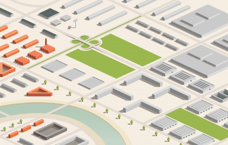 A vector illustration of an industrial city in isometric format  Editable with objects logically layered  City features buildings, trees, highway, factories, etc  Vector