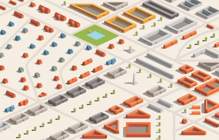 crowded street: A vector illustration of a city in isometric format  Editable with objects logically layered  City features buildings, trees, church, swimming pool, etc  Illustration