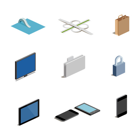 guidepost: A set of vector media icons in isometric format including Easy, Safe, Shop, Guidepost, Folder, Screen, Tablet and Smart Phone icons