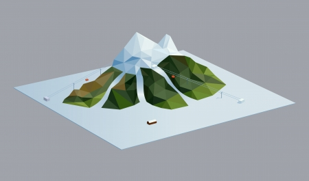 logically: A vector illustration of a mountain in a ski resort  Triangular style, objects logically layered