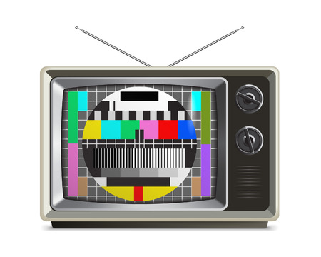 test pattern: A vector illustration of a retro television with a test pattern on screen