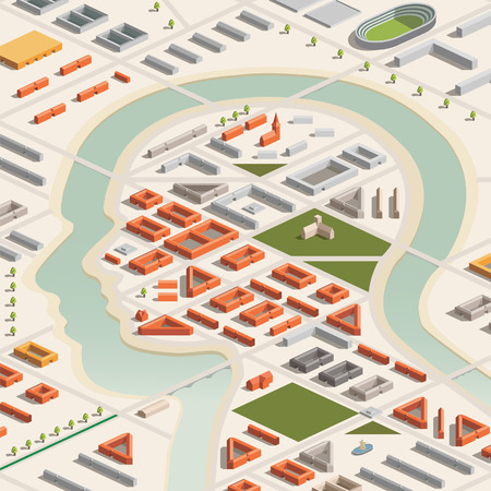 A vector illustration of a head shaped city in isometric format Vector