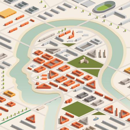 industry background: Una ilustraci�n vectorial de una ciudad con forma de cabeza en formato isom�trica