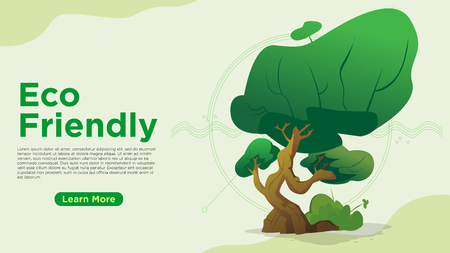 eco friendly concept unique big green bonsai tree and abstract line wave can be use for presentation, web, banner ui ux, landing page - Vector illustration Stock Illustratie