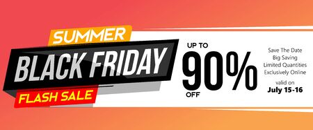 summer balck friday flash sale modern fluid semi flat style standard web banner design illustration