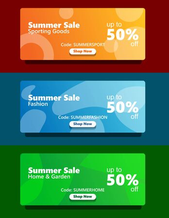 simple modern fresh vibrant color web banner set summer sale sporting goods, fashion, home and garden changeable catagory with coupon and shop now button Illusztráció