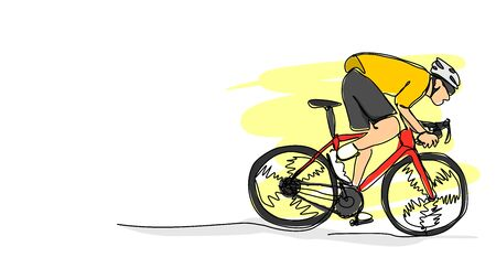 Professional road bike bicycle racer in action speeding single line bad drawing with water color efect flat style illustration