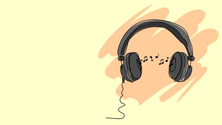 headphone hear music notes single line bad drawing with water color efect flat style illustration  イラスト・ベクター素材