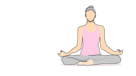 woman sitting in lotus pose meditating yoga meditation single line bad drawing with water color efect flat style illustration