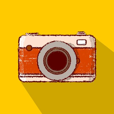 vintage retro camera icon rough out line long shadow style