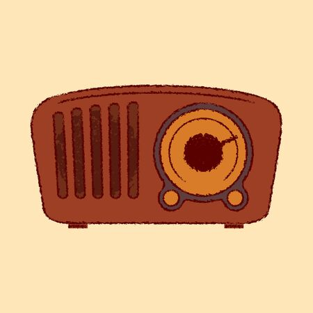 50s vintage retro brown detailed radio icon flat rough outline style