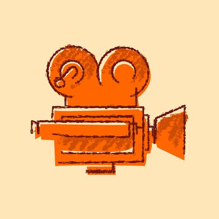 sketcy bad hand drawing rough dry brush orange fill vintage retro style professional retro old movie film camera vintage video recorder cinema production
