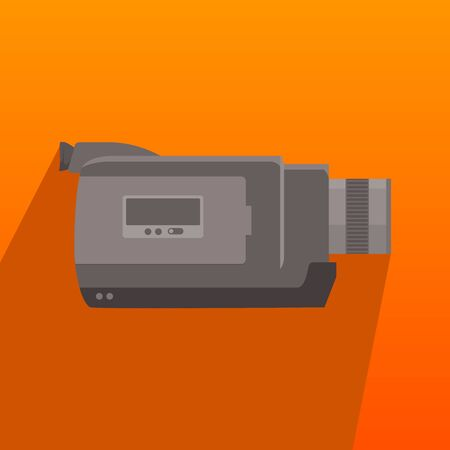 handycam personal hand video recorder  flat style long shadow illustration