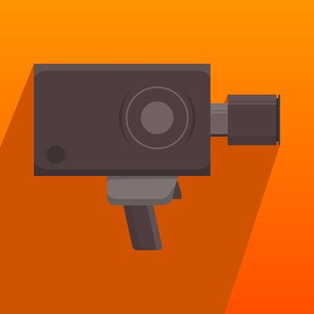 vintage personal hand movie video camera recorder  flat style long shadow illustration Stok Fotoğraf - 132174209