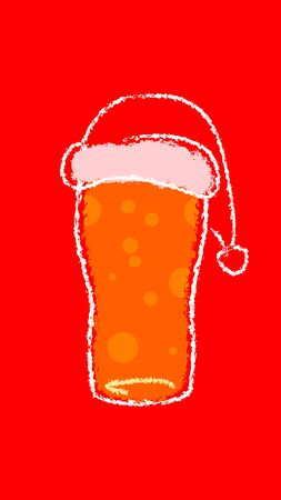 beer glass christmass with santa claus hat chalk hand drawing flat style illustration