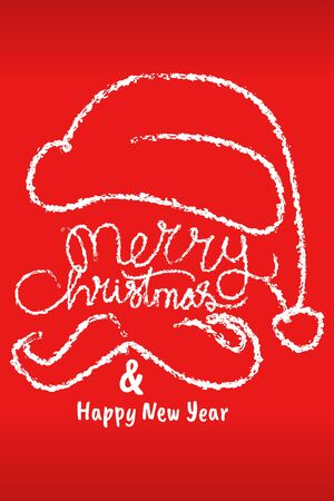merry chtistmas and happy new year greeting card typography in red background