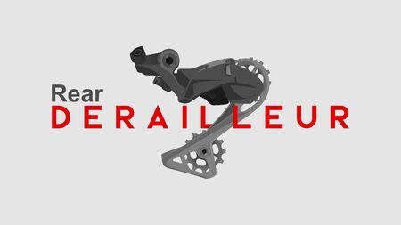 rear deraillur big text illustration bike component bicycle part