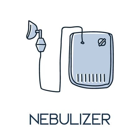 nebulizer, a drug delivery device used to administer medication in the form of a mist inhaled into the lungs. minimalist hand drawn medic flat icon illustrartion Ilustração