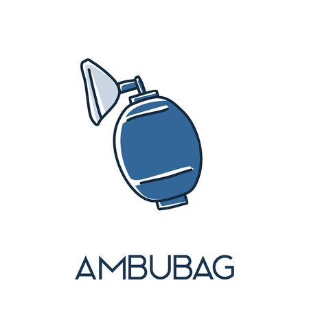 ambu Bag valve mask minimalist out line hand drawn medic flat icon illustration Ilustração