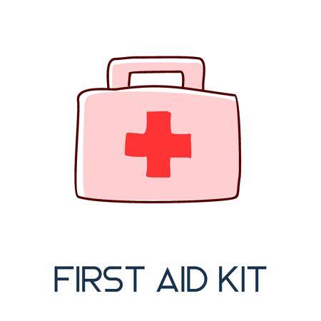 first aid kit case long shadow flat style medic icon illustration Ilustracja