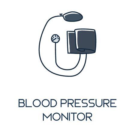 blood pressure minimalist out line hand drawn medic flat icon illustration 向量圖像