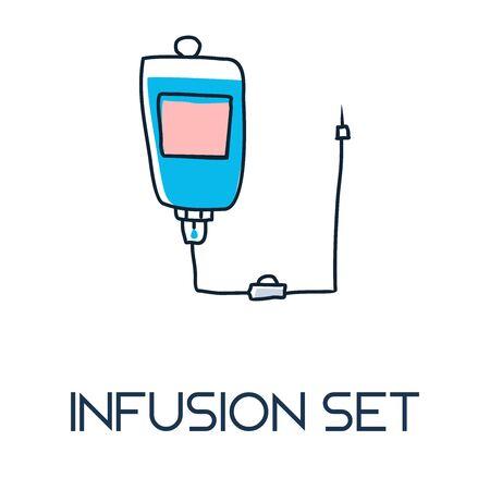 infusion set minimalist out line hand drawn medic flat icon illustration