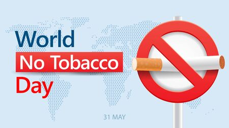 world no tobacco day. stop smoking sign with modern wrold map background vector illustration concept