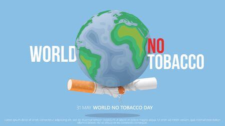 broken cigarette bellow earth. world no tobacco day vector clean concept
