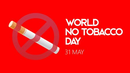 world no tobacco day. stop smoking sign in red clean background vector illustration concept
