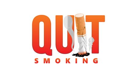 quit smoking. stop smoking tobacco simple big text typography clan concept vector illustration