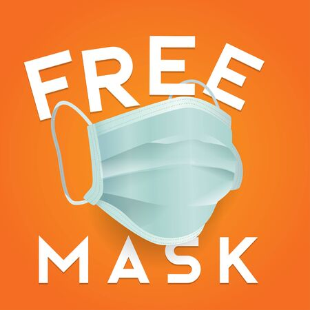 free mask simple square banner vector illustration