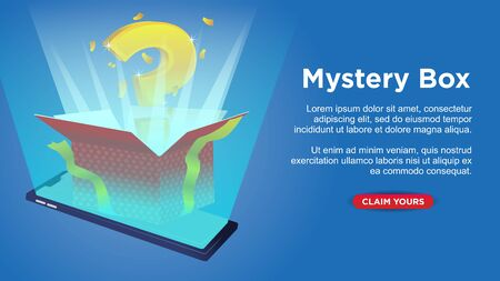 mystery gift box come out from mobile phone. msartphone with copy space custom web page template vector illustration