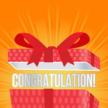 opened gift box with congratulation text vector illustration