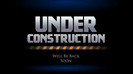 website under construction we will be back soon. spot light background with safety line vector illustration Illustration