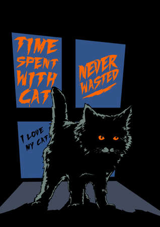 cat qoutes typography scary halloween illustration