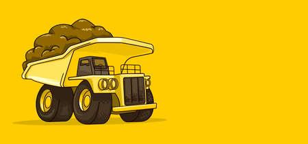 isolated Mining truck loaded cartoon vector illustration