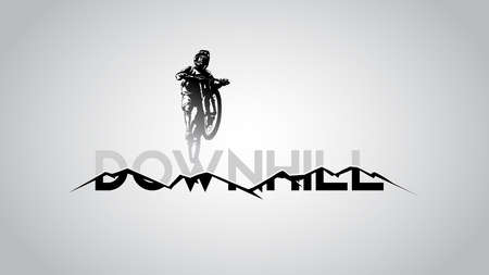 MTB biker jump over big down hill text and mountain vector illustration