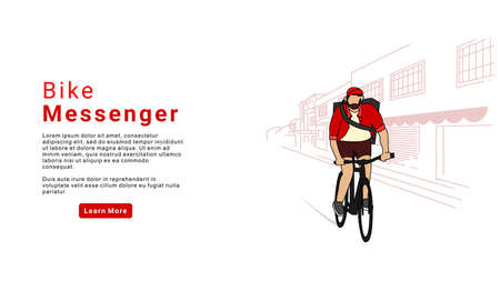 Bicycle delivery logistics courier. Bike messenger bearded male character hipster style. Bike messenger.  Landing page. Trendy Character Design Illustration - Vector