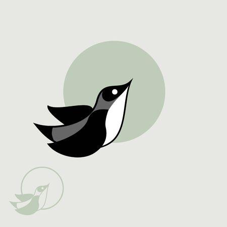 Flying Grey Bird Logo design vector template.