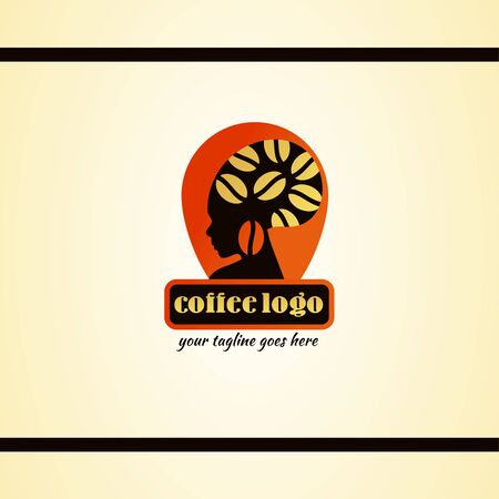 Coffee Logo Design With African Woman. Orange Background.