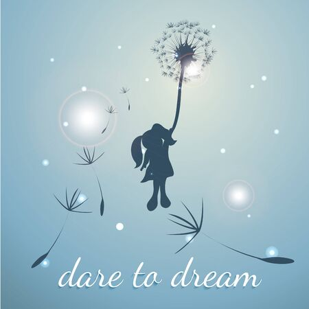 Litle girl is fling with dandilion. Dare to dream Stock Illustratie