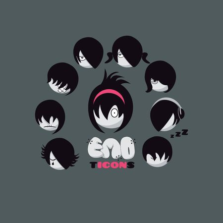 Set of vector emoticons. Emo style. Boys and Girls