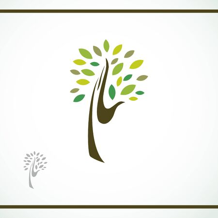 hand tree icon with green leaves - eco concept vector. This graphic also represents environmental protection, nature conservation, eco friendly, renewable, sustainability, nature loving
