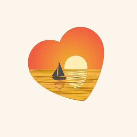Sunset with sailboat in heart shape. Vector design. Orange colour. 向量圖像