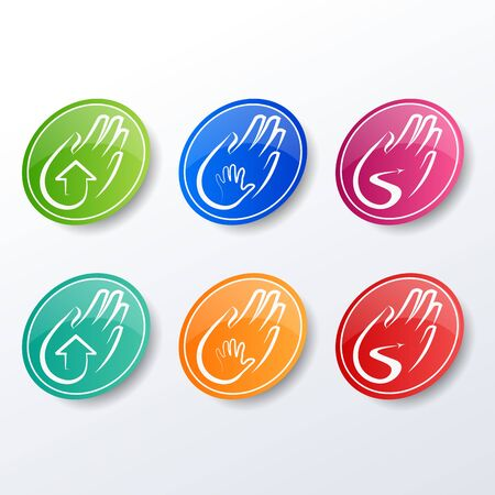set of care icons. Colourful vector elements. Holding on hand