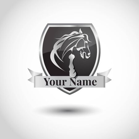 Horse luxury logo design. Emblem with running horse. Vector design template