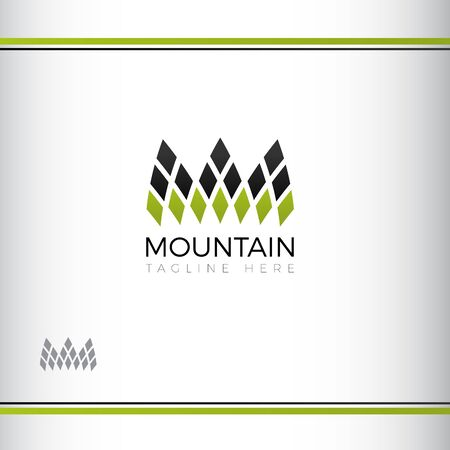 mountain abstract vectror logo design. Three mountain peaks. Green and black color. Watermark Ilustração