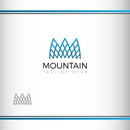 mountain abstract vectror logo design. Three mountain peaks. Modern Architecture. Blue color. Watermark Ilustração
